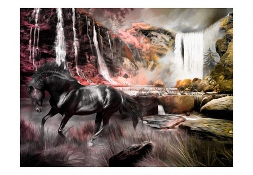 svart häst tapet vattenfall